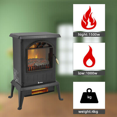 $60.13 • Buy ZOKOP 1500W Electric Fireplace Heater Wood Fire Flame Stove 68-95℉ Adjustable US