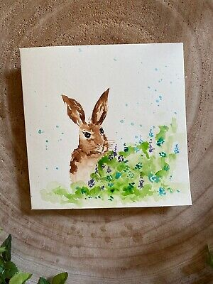 £3 • Buy Hand Painted Watercolor Flower Hare Card Greetings Card