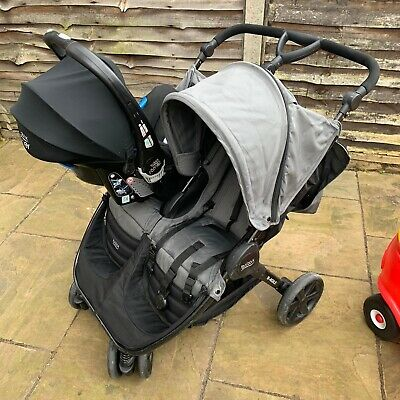 Britax B Agile Double Buggy With Car Seat / Isofix & Connectors • 250£