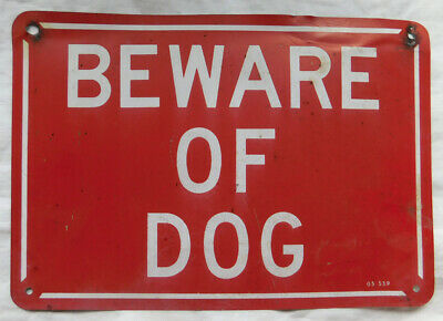 $ CDN18.32 • Buy Vintage Tin  BEWARE OF DOG  SIGN # 1, 10 1/4  X 7 , BOLD RED & WHITE COLOR