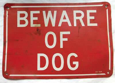 $ CDN18.32 • Buy Vintage Tin  BEWARE OF DOG  SIGN # 2, 10 1/4  X 7 , BOLD RED & WHITE COLOR