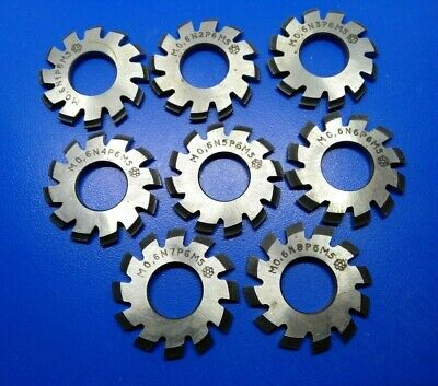 $41.95 • Buy Set 8Pcs Module M0,6 Inner Bore 13mm №1-8 HSS Involute Gear Cutters Disk-shaped