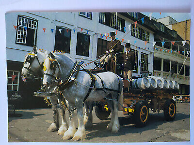 Whitbread Shire Horses At Work The George Southwark Picture Postcard 1980's • 2.99£