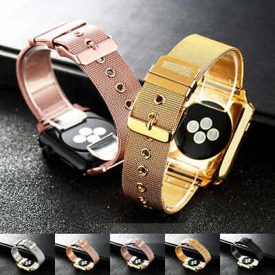 $ CDN43.83 • Buy For IWatch Apple Watch 38 /42mm Luxury Plating Stainless Steel Watch Band Strap