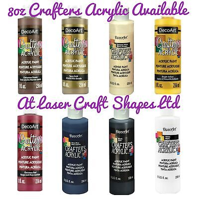 DecoArt Crafters Acrylic Craft Art Paint - All Purpose - 8 Colours - Large 8oz • 9.25£