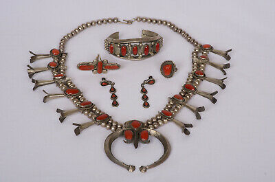 $ CDN1262.36 • Buy Indian Squash Blossom Sterling Silver & Coral Necklace - Complete Set