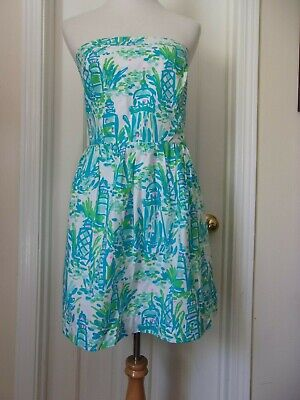 $39.99 • Buy Lilly Pulitzer Chandie High Beams Strapless Dress Lighthouse L Large