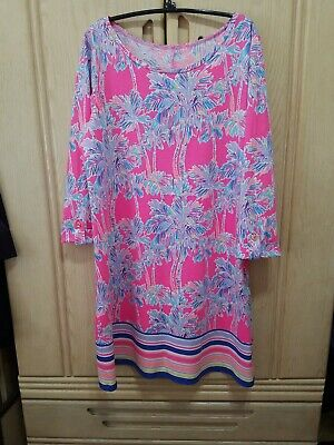 $34.99 • Buy LILLY PULITZER Pink Palm Trees Print Scoop Neck Tab Sleeves Dress Size L
