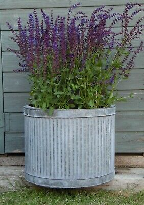 Large Vintage Galvanised Metal Ribbed Round Tub Planters Plant Flower Pot Garden • 27.95£