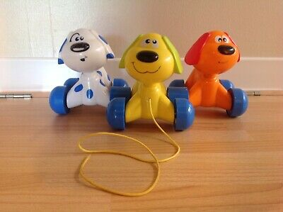 Plastic Pull Along Toy Dogs Sounds On Wheels • 7.50£