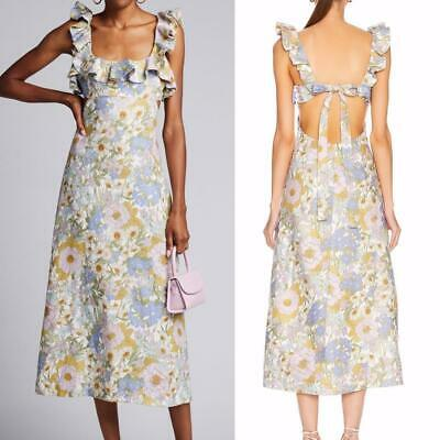 $354.67 • Buy AUTH ZIMMERMANN Super Eight Frilled Midi Dress $795 Blue Meadow