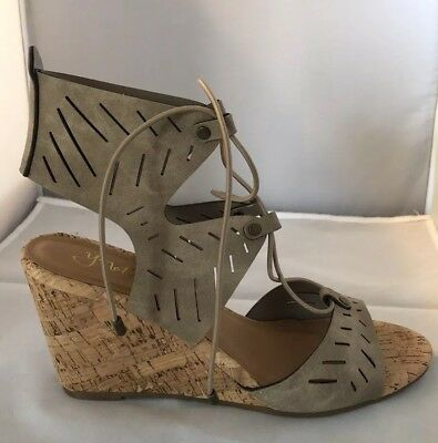 $39.99 • Buy New Cork Wedge Sandals Womens Size 8.5 M  Y-not? Melissa Light Taupe Shoes Box