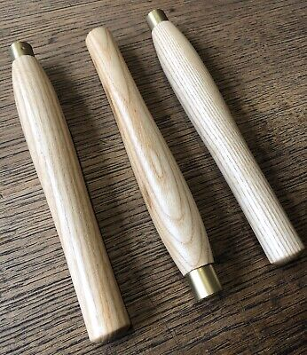 """£15 • Buy FIVE 8"""" X 5/8"""" Slim Turning Tool Handle / Ash / Clear Satin With Brass Ferrule"""