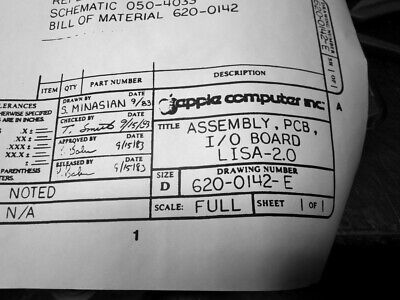 £21.19 • Buy Apple Lisa 2/10 I/O Board - PCB Assembly Schematic - 24  X 36