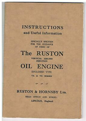 Ruston & Hornsby VA & VC Vertical Engines - Instruction Book • 9£