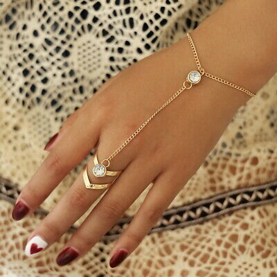 £6.99 • Buy New Sexy Gold Chain Crystal Charm Bracelet Finger Ring Hand Harness UK