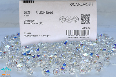 $87 • Buy 3mm/4mm-001AB Swarovski Elements #5328 Xilion Crystal Bicone Bds Factory Pack