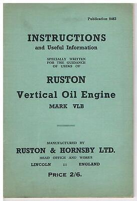 £9 • Buy Ruston & Hornsby VLB Oil Engine Instruction Book