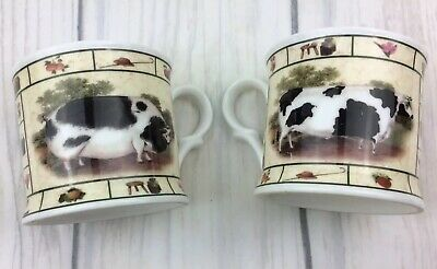 Two Small Bone China Mugs By Milton England Spotted Pig & Cow Farmhouse Kitchen • 16.95£