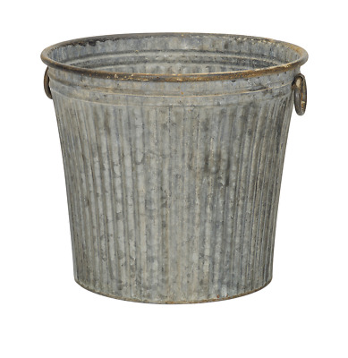 Large Round Galvanised Ribbed Zinc Metal Bucket Planter Plant Flower Pot Garden • 32.95£