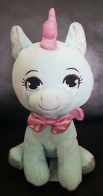 Primark Unicorn Soft Toy Blue Pink Sparkle Glitter Tail Feet Horn Bow Wings 9  • 15£