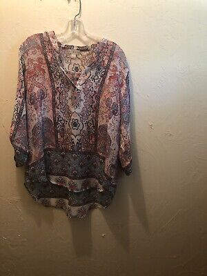 $12 • Buy Live And Let Live Top Womens Size XL Multi Color Blouse  Semi-Sheer