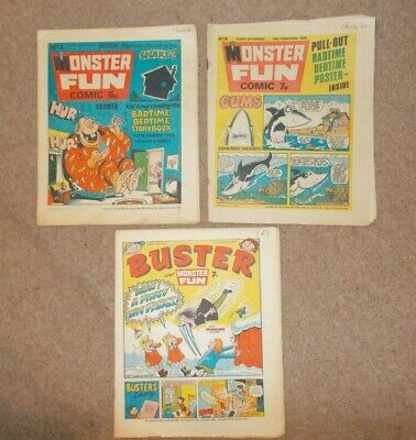Buster And Monster Fun Comics X 3 Issue 4 1975 Issue 36 1976 1977 Vintage VGC • 7.99£