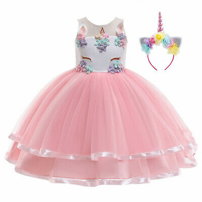 2020 Girls Unicorn Party Costume Fancy Dress Cosplay Tutu RainbowFlower Headband • 14.99£