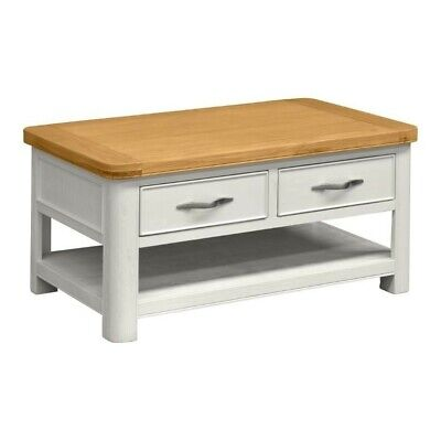 Stow Painted Oak Coffe Table/ Off White Painted Coffee Table With Drawer & Shelf • 260£