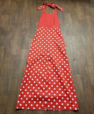 AU80.22 • Buy 1970s Vintage Red Polka Dot Halterneck Maxi Dress UK Size 10 Vintage Clothing