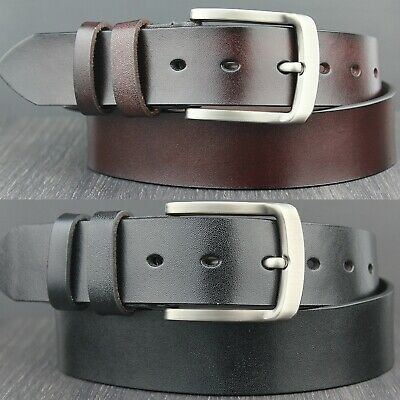Mens Genuine Real Thick Leather Belt Dark Brown And Black All Sizes • 9.95£