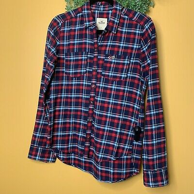 AU14.35 • Buy Hollister Womens Plaid Button Down Shirt Size Small Red Top Blouse