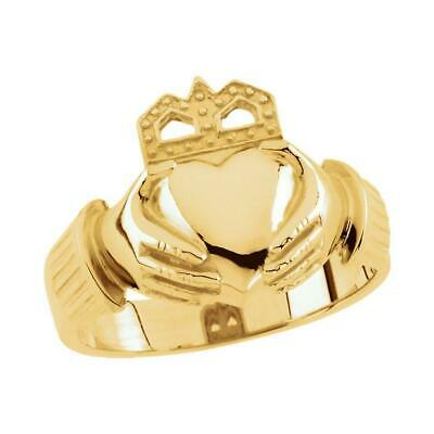 $1179 • Buy Men's Irish Claddagh Ring 14K Yellow Or White Gold Size 11