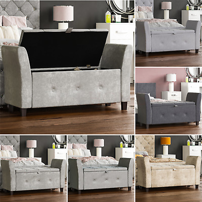 Storage Ottoman Seat Stool Bench Chest Toy Box Pouffee Footstool Bedroom Trunk • 89.95£