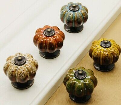 Ceramic Door Knobs. Vintage Pumpkin Style. 5 Classic Colours. Drawer Pulls. • 2.79£