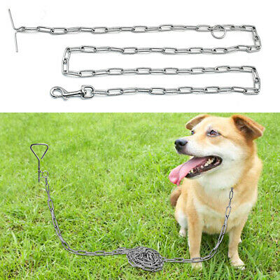 T-style Chain Dog Leads Leash Stake Restraint Chew Proof Cable Tie Out Durable • 7.49£