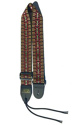 $ CDN15.03 • Buy Guitar Strap Black Burgundy Woven Nylon For All Acoustic & Electric Made In USA