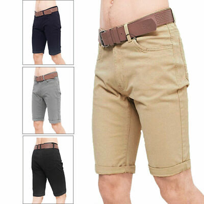 Crosshatch Mens Delena Belted Chino Shorts Cotton Knee Length Turn Up Bottoms • 12.99£