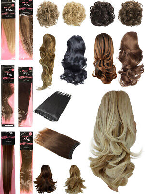 £3.95 • Buy Fashion Hair Extensions Clip In Ponytails Weaves Straight Curly Wavy New