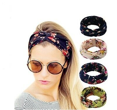 $10.99 • Buy 4 Pack Women Elastic Flower Printed Turban Head Wrap Headband Twisted Hair Band