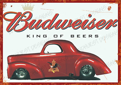 Retro Budweiser Metal Sign Man Cave Bar Pub Plaque Party Kitchen Vintage Garage • 4.99£