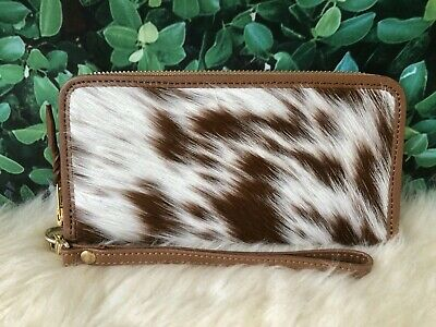 £35.95 • Buy Cowhide Pony Hair Wallet Continental Clutch Brown Leather Hair On Skin Women