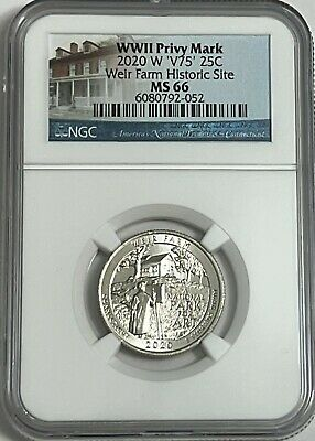 $ CDN48.37 • Buy 2020 W WEIR FARMS HISTORIC NGC MS66 NATIONAL PARK V75 WWII PRIVY QUARTER 25c