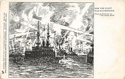 Postcard  Ships - How The Fleet Was Illuminated - Spithead  Review 1902 - Tuck • 4.50£