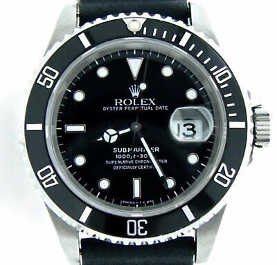$ CDN10557.52 • Buy Rolex Submariner Mens Stainless Steel Watch Date Sub Black Strap Band 16610