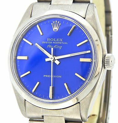 $ CDN4430.27 • Buy Rolex Air King Precision 5500 Mens Stainless Steel Watch Oyster Band Blue Dial