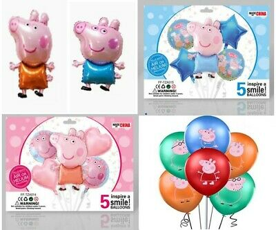 Large Peppa George Pig Birthday Party Balloons 31 Inch & 5PC Balloon Sets • 4.75£