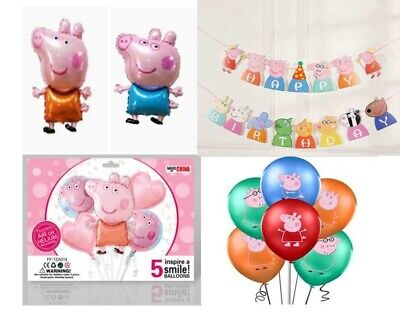 £5.75 • Buy Large Peppa George Pig Birthday Party Balloons, 5PC Balloon Sets & 8 Pc Latex