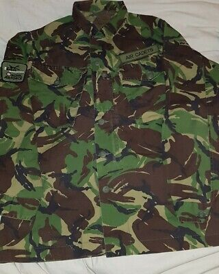 Vintage British Army Dpm Combat Shirt, Air Cadets, With Badges • 10£