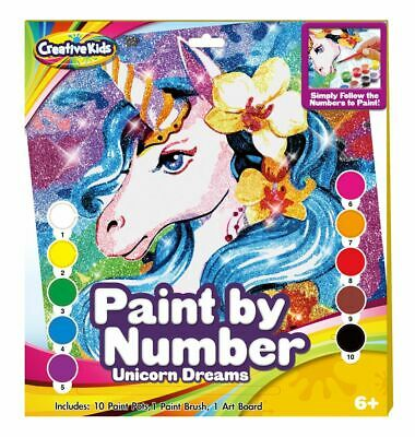 Unicorn Glitter Paint By Numbers Creative Kids Craft Art Set Kit Brush  • 8.99£